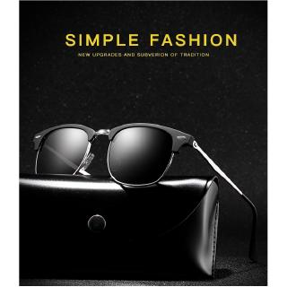 half frame round rice nails polarized color film men women sunglasses fashion trend wild classic metal retro sun gl