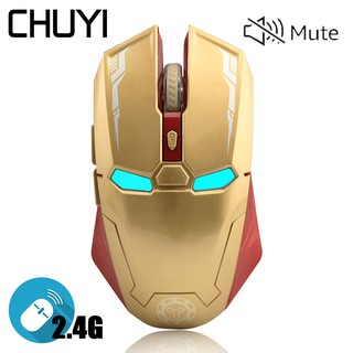 CHUYI Mouse เมาส์ Iron Man เงียบเมาส์ไร้สาย Wireless Mouse Silent 2.4G Optical Gaming Mouse 1600DPI Mute Mice L