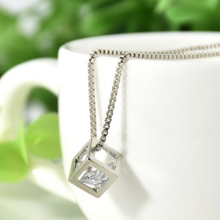 Review Women Girls Love Cube Crystal Pendant สร้อยคอ Short Chain