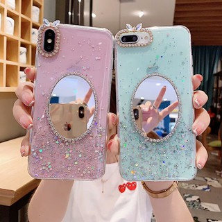 Review Vivo S1 Y17 Y12 Y15 V15 Y91C S5 V11i V9 Y85 Y67 Y66 V5 Plus V5S Y65 Star Bling Makeup Mirror Soft TPU Phone Case