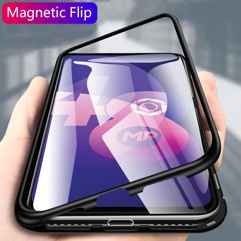 Review Magnetic Case OPPO F11 Pro A5 A9 2020 Realme 5 3 Pro X Lite C2 A1K Reno Clear Tempered Glass Hard Back Cover