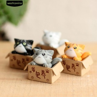 🍁Lovely Box Cartoon Cat Miniature Landscape Bonsai Resin Crafts Orn