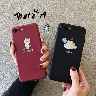 Review เคสสำหรับ iPhone 6 S Plus 7 8 Plus X XR XS Max Cartoon Dog Cartoon Matte Back caseing