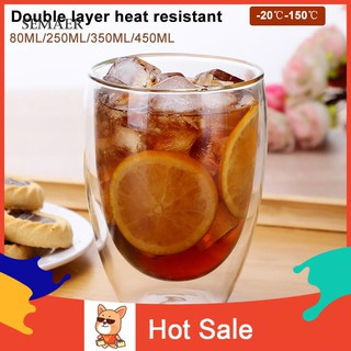 ✌SP Home Double Wall Heat Insulation Tea Coffee Milk Mug Drink Glass Cup Drin