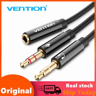 Vention หูฟัง Splitter 3.5 มม. Female to 2 Male Jack 3.5 Mic Y Adapter