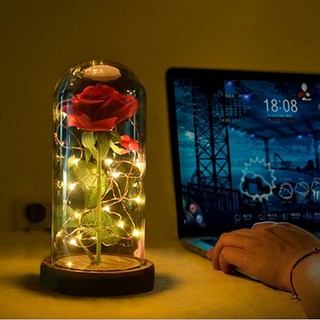 Image # 2 of Review Eternal Flower Red Silk Rose and LED Light with Fallen Petals in Glass Dome on a