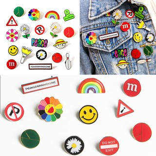GD Support Same Metal Badge Fashion Daisy Rainbow Smiley Pattern Brooch Clothes Bags Accessories