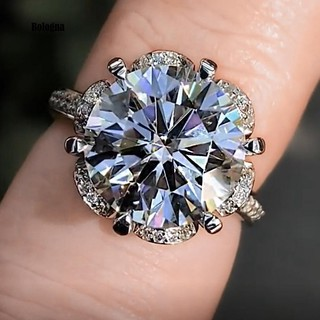 Review Fashion Six Petal Flower Cubic Zirconia Women Wedding Engagement Finger Ring