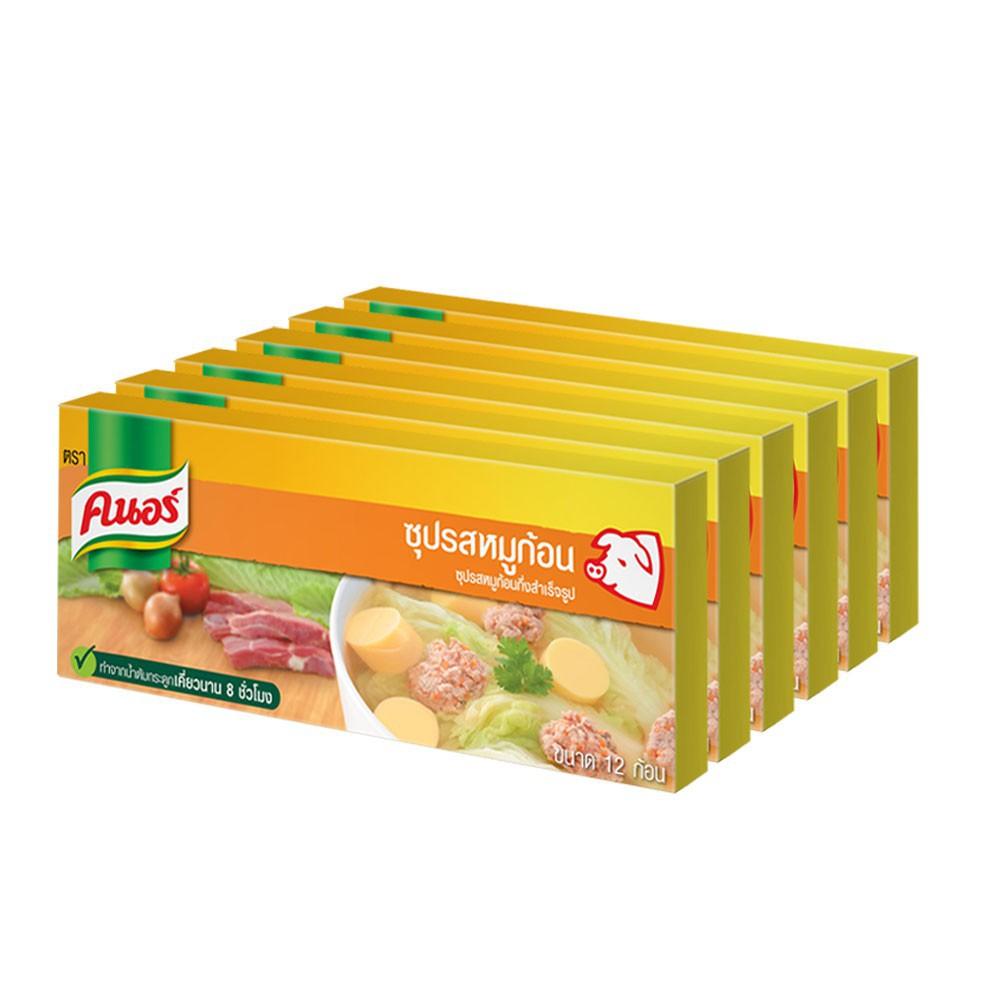 คนอร์ ซุปก้อนรส หมู/ไก่ 120 กรัม (แพ็ค 6) Knorr UNILEVER