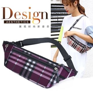 New Close-fitting Running Bag Plaid Ultra-Thin Sports Satchel Multi-Function Unisex Running Bag Oxford Casual Running Bag