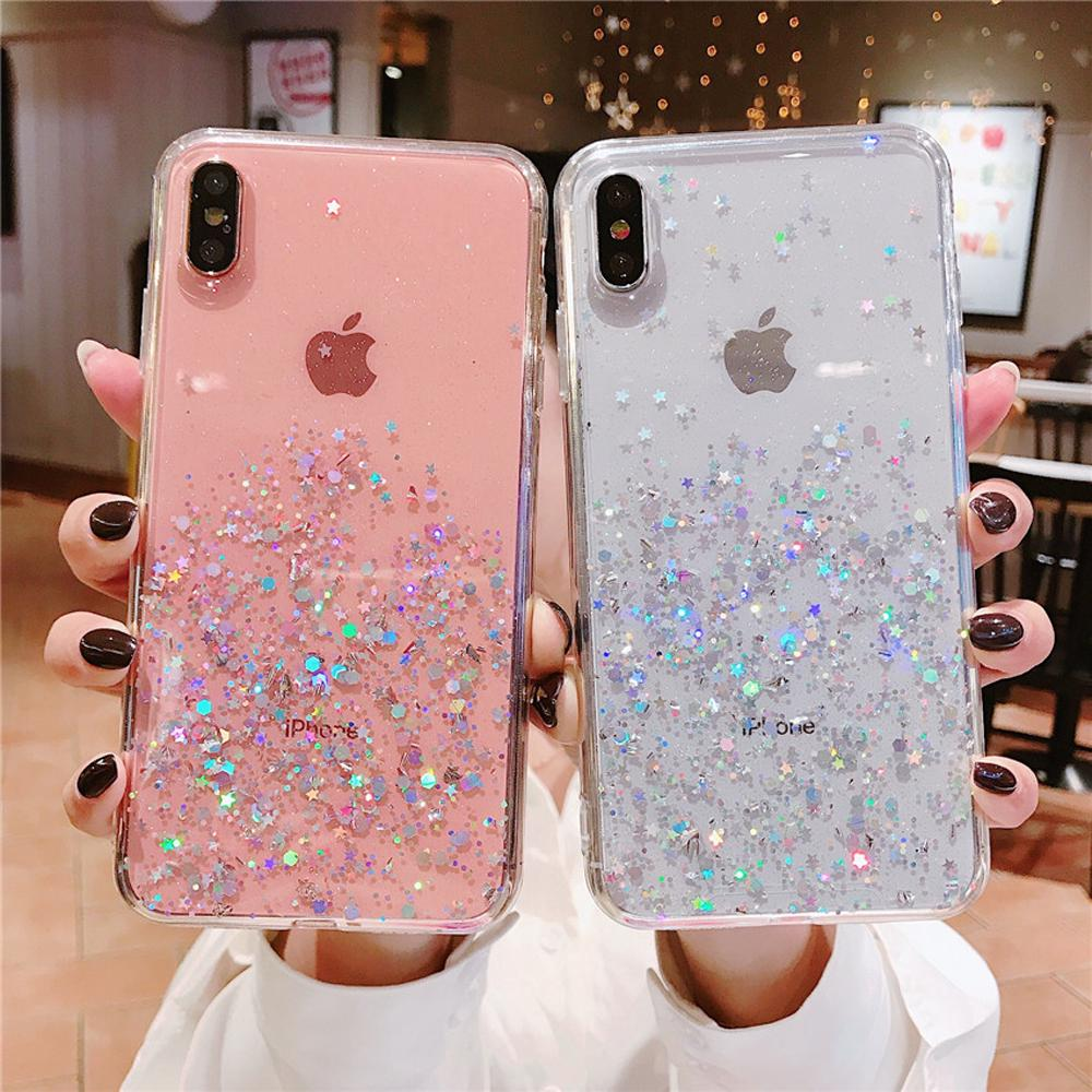 กรณี Transparent Glitter Star Fashion Case Iphone 11 Pro Max XR XSmax X 6 7 8 6plus 8plus Cover Epoxy TPU Soft