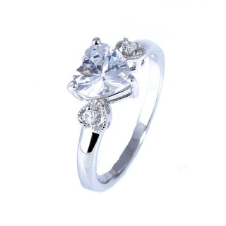 Review lingmei Wedding love Heart Cut Topaz Gemstone Silver แหวน