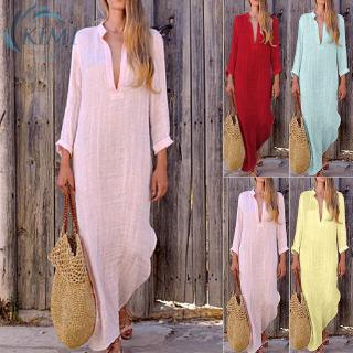 Review Women's Deep V-Neck Long Sleeve Slim Fit Straight Slit Plain Maxi Casual Summer Beach Stylish Dress