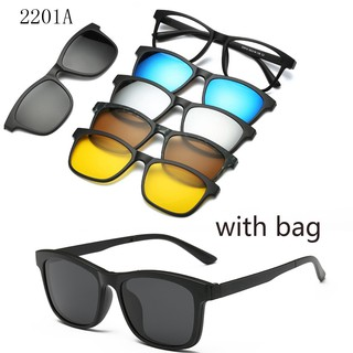 Review Clip on Magnetic Sunglasses women men With Bag Magnet Clip Myopia glasses