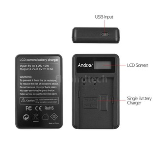 FLY Andoer LCD2-BLF19 LCD Dual Camera Battery Charger for Panasonic Lumix GH3 GH4 GH5 DMC-GH3 DMC-GH4 DMC-GH5 C