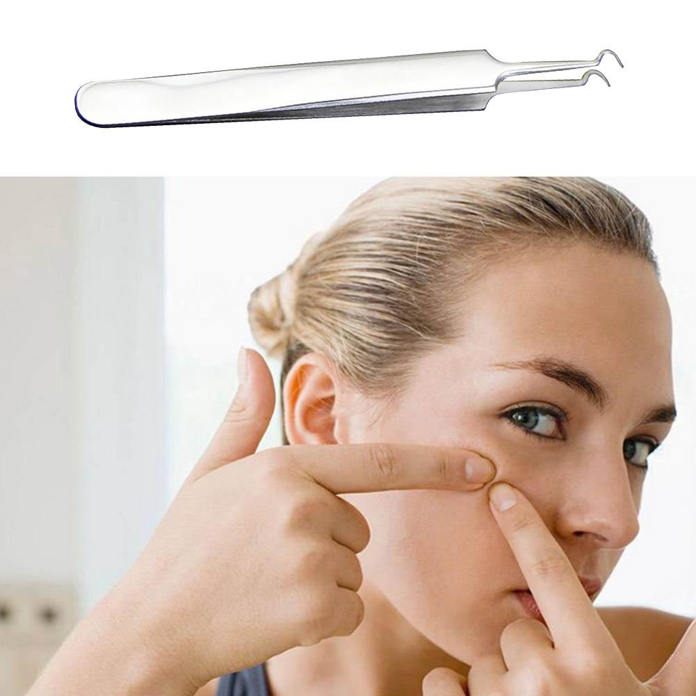 Review Stainless steel curved blackhead acne clip pimple comedone remover face cleaner 11cm Blackhead Remover