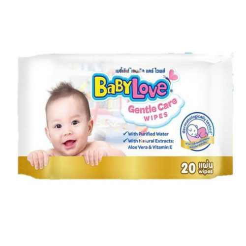BabyLove Gentle Care Wipes (20 pcs) x 24 เบบี้เลิฟ เจนเทิล แคร์ ไวพส์ สูตรอ่อนโยนจากธรรมชาติ (20 แผ่