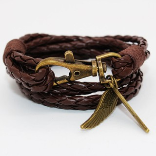 PU Leather Charm Friendship กำไลข้อมือ Bangles Feather
