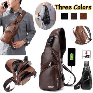 New Fahion Men Cross Body Bag Sling Purse Chest Shoulder Backpack Anti Theft For Travel School with USB Charging