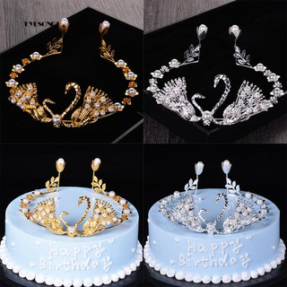Review Elegant Swan Faux Pearls Crown Cake Topper DIY Bridal Wedding Party Decoration