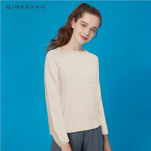 GIORDANO WOMEN Thick crewneck cable knitted sweater 05359625