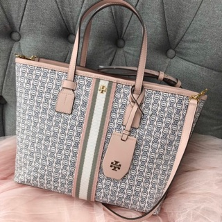 Review Tory Burch Gemini Link Canvas Small Tote ชมพู