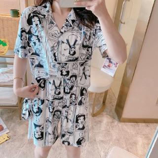 Arroye store (Eyeglasses for free) pajamas women's short-sleeved shorts loose cartoon cardigan students' cute home clothes set