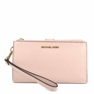 (New)MICHAEL KORS Adele Soft Pink Leather Double Zip Wri