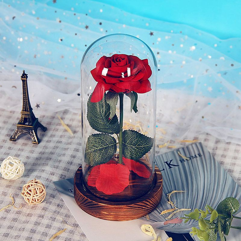 Image # 6 of Review Eternal Flower Red Silk Rose and LED Light with Fallen Petals in Glass Dome on a