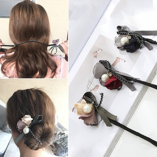 Review LK❈Women Fashion Faux Pearl Flowers Donut Bun Maker Headband Hair Styling Tools