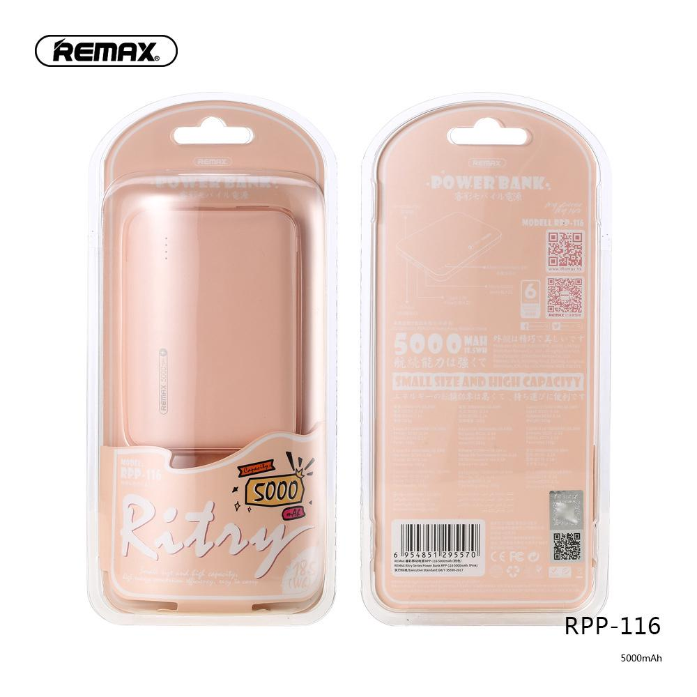 The best REMAX Ritry Series Single USB Power Bank 5000mAh RPP-116 Mini Universal Charging