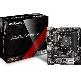 MAINBOARD (เมนบอร์ด) AM4 ASROCK A320M HDV -3 Years Warranty(synnex,