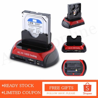 🚚 READY STOCK 2.5 นิ้ว / 3.5 นิ้ว Dual SATA IDE HDD Station Hard Disk Drive Dock