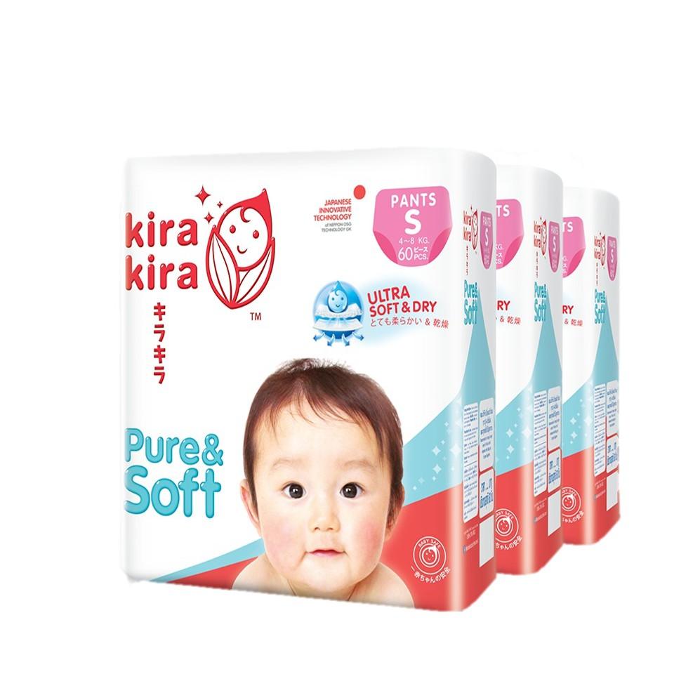 Kira Kira Pure & Soft Jumbo ผ้าอ้อมแบบเทปเเละกางเกง คิระ คิระ Pack x3 ยกลัง
