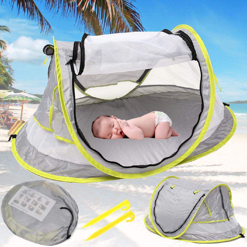 Review Foldable Baby Beach Tent Canopy Sun Shade Shelter Anti-UV Portable Travel Bed