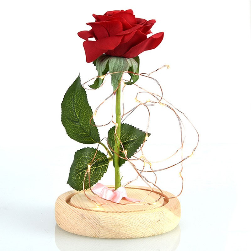 Image # 4 of Review Eternal Flower Red Silk Rose and LED Light with Fallen Petals in Glass Dome on a