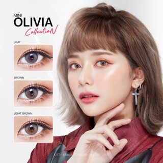Review คอนแทคเลนส์ | Mini Olivia Brown/L.Brown/Gray