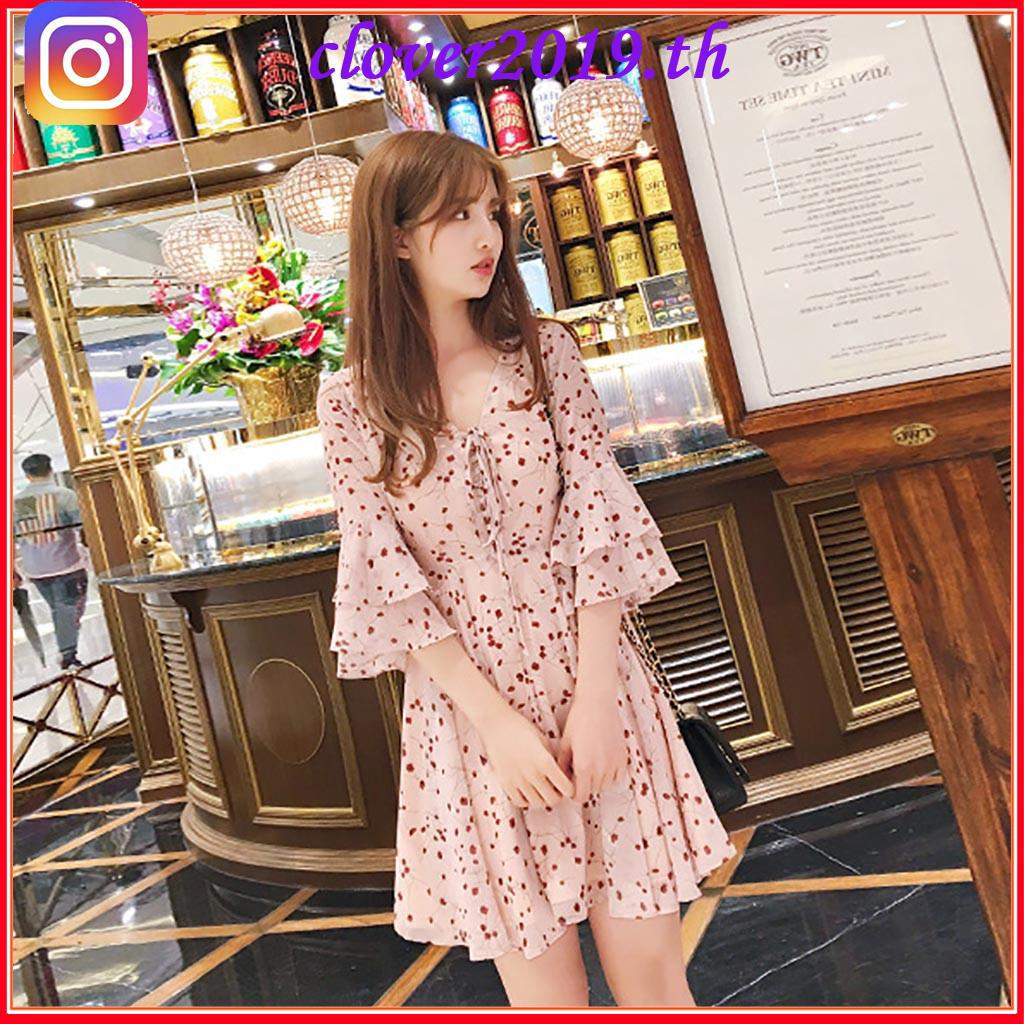 Review COD-Korean Sweet Floral Printed Short Sleeve TV-neck Mid-length Dress-663