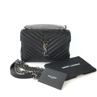 Review 🎉 New Saint Laurent College Medium In Matelasse Learher BLACK-GHW/SHW