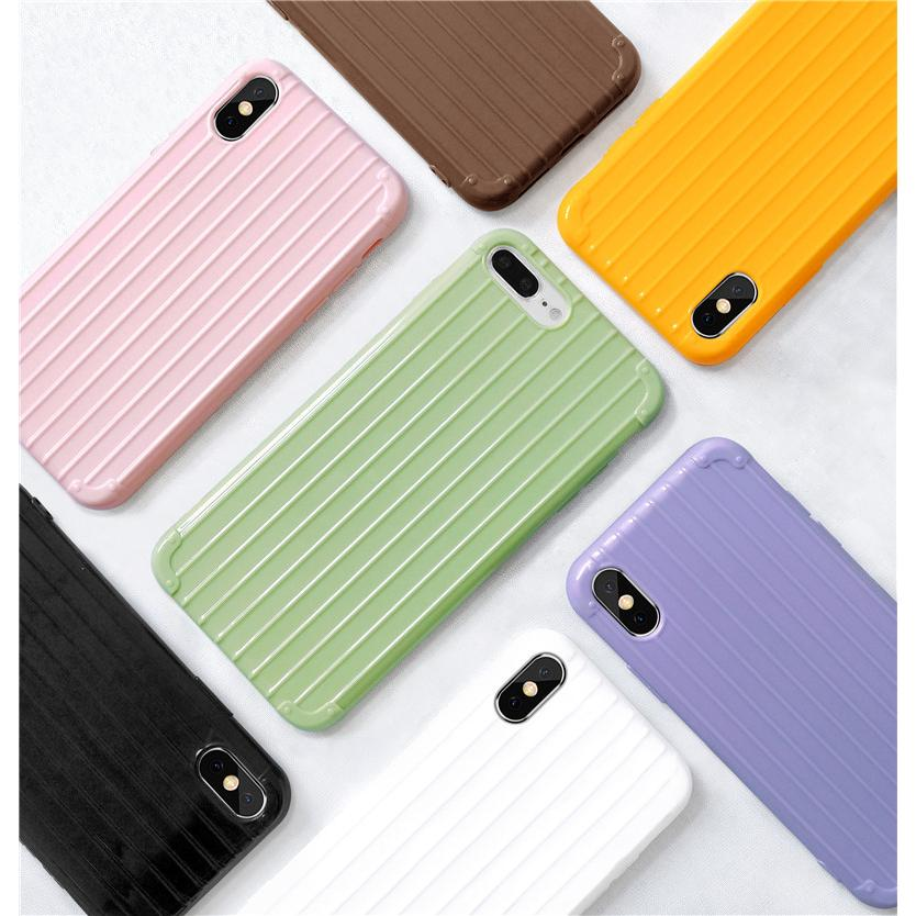 INS Fashion Trunk Style Simple Pure Color Silicone Casing iPhone 6 6s 7 8 6+/7+/8+ X XS XR XSMAX  Case Back
