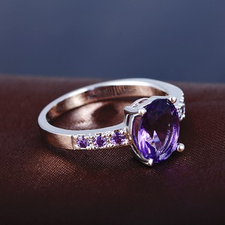 Image # 7 of Review Silver แหวน Oval Cut lingmei Amethyst crystal Gemstone
