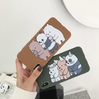 Oppo A3s A83 A57 A73 A37 F5 F1s  We Bare Bears Soft TPU Case Cover Couple