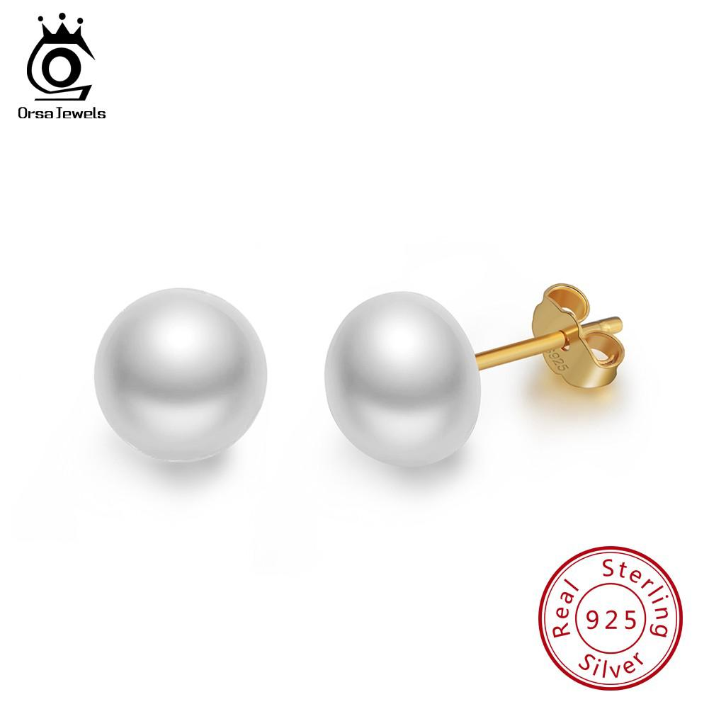ORSA JEWELS Real 925 Sterling Silver Stud Earrings With Fresh Water Pearl