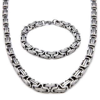 💎🌈2Pcs Men Necklace And Bracelet Jewelry Set Stainless Steel Fashion Chain