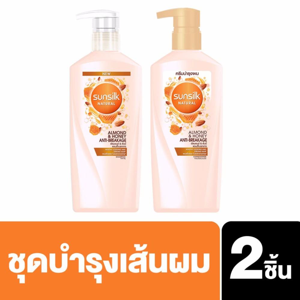Sunsilk Natural Almond and Honey Anti-Breakage แชมพู & ครีมนวด 450มล. UNILEVER