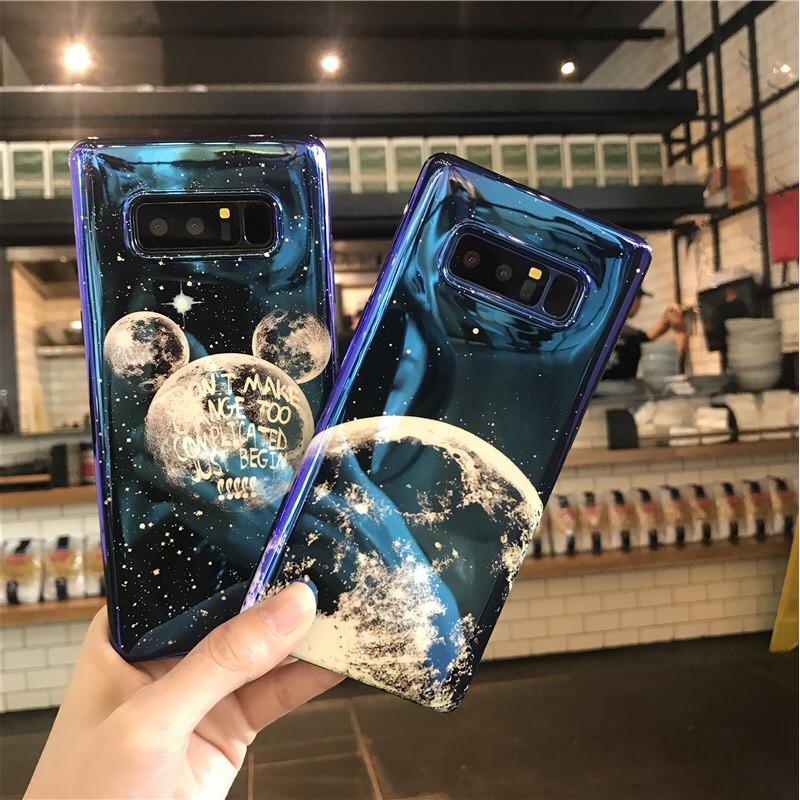 Review Samsung Galaxy S10 S10E กรณี S10plus Note 8 Silicone Case Samsung Note9 S8Plus S9 S9P Moon Blue Ray Soft Case