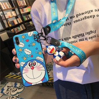 Review  Doraemon Casing VIVO V15 Pro V9 V11 V11i V5 Y71 Y97 Y66 Y95 Y97 Lanyard Case iPhone Xs Max X 6 6S 7 8 Plus Soft Cover