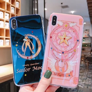 Review 🔥 Blue Ray Sailor Moon Casing VIVO V15 V9 V7 Plus V5 Y66 Y97 Y95 Y93 Y83 X9 X9S Glitter Transparent Case Soft Cover