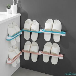 【FH】 Bathroom Slippers Rack Wall Mounted Shoe Organizer Rack Folding Slippers Holder Shoes Hanger Self Adhesive Towel Racks ❃❁