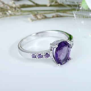Image # 5 of Review Silver แหวน Oval Cut lingmei Amethyst crystal Gemstone